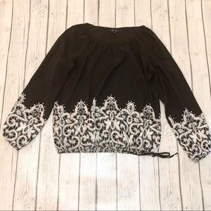 Style & Co. Black Rhinestone Long Sleeve Top